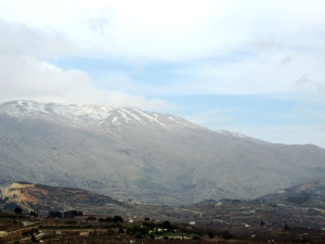 "Mount Hermon in the northern limits of Galilee. Also known as the most likely ""high"" mountain of the Mount of Transfiguration. Matthew 17:1-13 ""His face shone like the sun, and His clothes became white as light."""