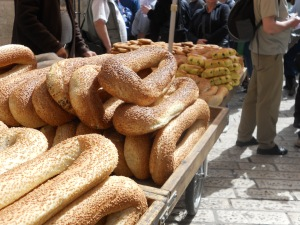 """...while He talked with us on the road...""Luke 24:32 (ESV)  Bread cart in Jerusalem...as we walked along the Via  Dolorosa."