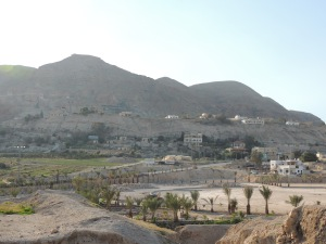 "View from Jericho. ""Then Jesus was led up by the Spirit into the wilderness to be tempted...command these stones to become loves of bread."" Matthew 4:1-4"