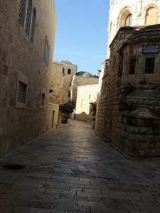 "Stoned lined street leading to the Upper Room location. Could this have been the same path Peter and John would have taken when Jesus told them to ""Go your way into the village..."" Mark 11:2 KJV"