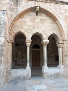 Doorway in courtyard at Saint Catarinae in Bethlehem