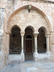 Doorway in courtyard at Saint Catarinae in Bethlehem