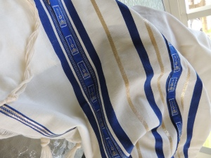 "The ""blue"" was from the cerulean mussel, the rare color was used to dye the tassels. This prayer shawl is an example only of what the ""woman"" would have been reaching to touch on Jesus's hem. I wept like a baby when I purchased this in a shop on the Sea of Galilee."